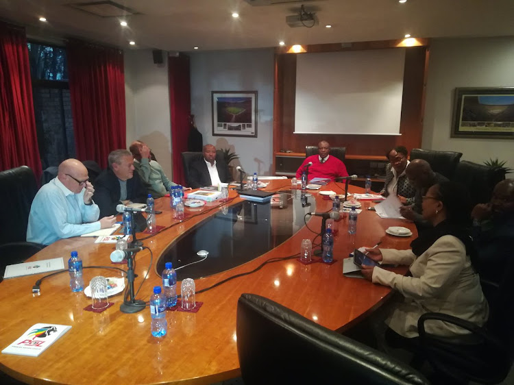 Premier Soccer League (PSL) chairman Irvin Khoza chairs a meeting of the Leagues' executive committee at the PSL head offices in Parktown, north of Johannesburg on Thursday July 5 2018