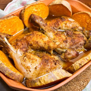 Famous Baked Chicken And Sweet Potatoes.