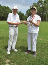 Photo: Bob presents Jacque with First Place Silver Mallet trophy