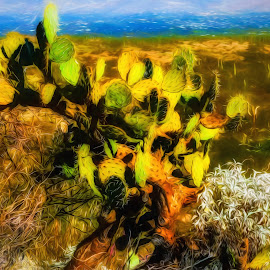 Cactus Landscape Painting by Dave Walters - Digital Art Things ( saguaro national park, nature, arizona, lumix fz200, cactus, desert, colors )