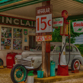 Oil Station  by Jeff Brown - Buildings & Architecture Public & Historical ( oil, hisotry, car, era, gas, station )