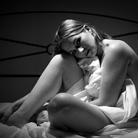 In Bed by Mel Stratton - Black & White Portraits & People ( bed, woman, sheet, nude, girl, female, naked )