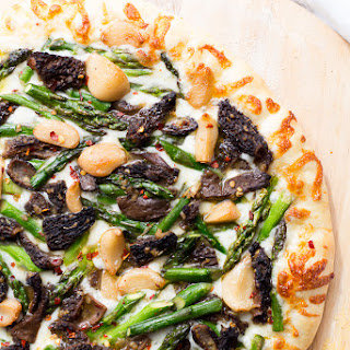 Asparagus and Morel Pizza with Garlic Confit.