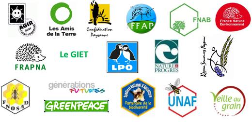 De nombreux logos d'associations environnementales sont présents. Parmi eux, on retrouve Greenpeace,  Frapna, Les Amis de la Terre, FNAB, UNAF, Veille au grain...