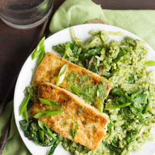 Flaky Coconut Tofu with Creamy Chard Jasmine Rice Recipe