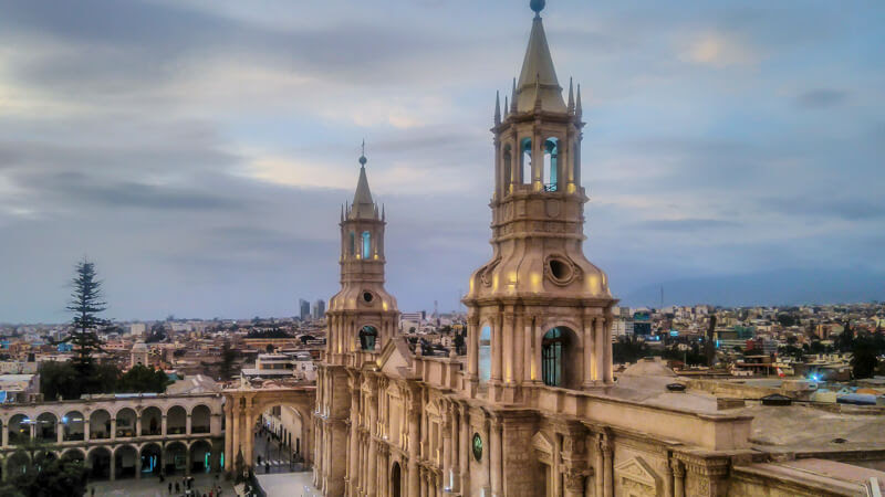 neoclassical cathedral at plaza de armas top view in arequipa peru south america