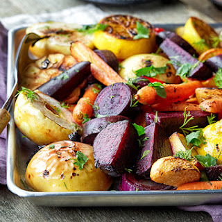 Roasted Fall Vegetables with Maple, Thyme and Apple.