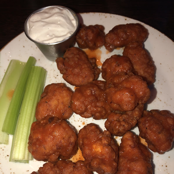 Boneless buffalo wings! Battered with rice flour and fried in a dedicated fryer