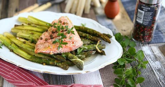 Ginger Roasted Asparagus with Salmon