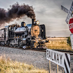 Letting Off Steam by Tony Buckley - Transportation Trains ( locomotive, twilight, train, steam )