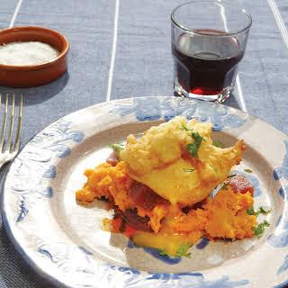 Fork-Crushed Sweet Potatoes with Sobrassada and a Fried Egg.