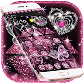 Pink Shiny Diamond Love Heart Glitter Theme