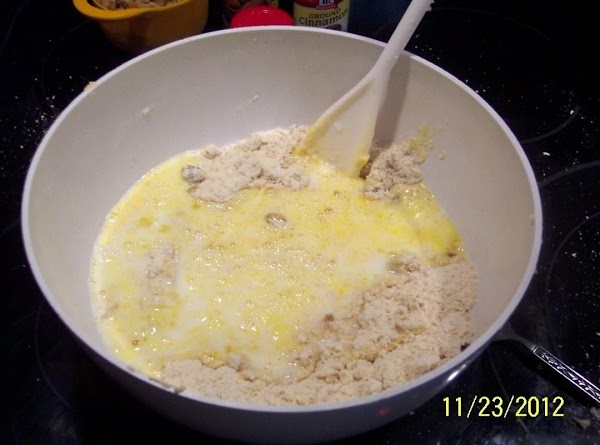 Add  beaten eggs and buttermilk, mix well.***(For buttermilk..add 1-2 teas. vinegar to 1...