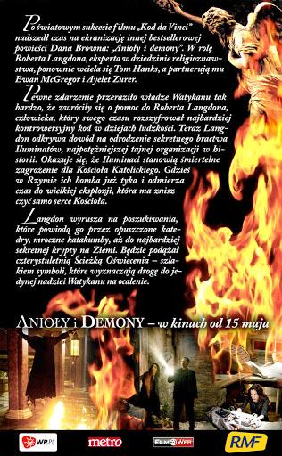 Tył ulotki filmu 'Anioły i Demony'