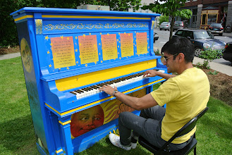 Photo: We stopped in Middlebury for lunch and they had these pianos set up everywhere for people to play.