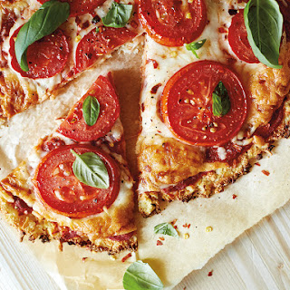 Tomato & Basil Cauliflower Pizza.