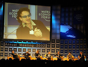 Photo: NEW YORK, 31JAN02 - Bono, singer of the popband U2 from Ireland, speaks on the podium of a session of the 32nd Annual Meeting of the World Economic Forum at the Waldorf-Astoria hotel in New York Jnauars 31, 2002. The session was simply emtitled 'For Hope'.
