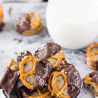 Chocolate Covered Pretzel Cookie Dough Sandwiches