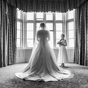 Watching On... by Nigel Hepplewhite - Wedding Getting Ready ( preparations, matfen, window, dress, wedding, daughter, bride )
