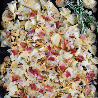 Kettle Chip Nachos with Bacon and Rosemary.