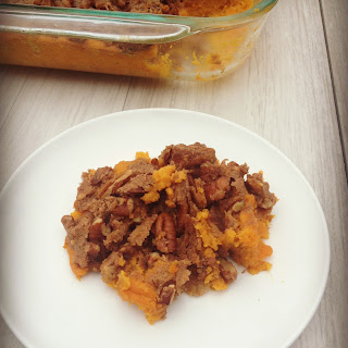 Sweet Potato Casserole with Pecan Topping.