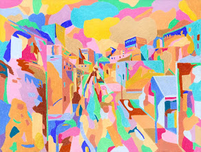 """Photo: Тадеуш Жаховский """"Новый День. New Day"""", Title: New Day / Новый День Artist:Tadeush Zhakhovskyy / Тадеуш Жаховский Medium: Painting. mixed techique on cardboard, смешанная техника, дизайнерский картон. 46 cm x 61 cm x / 18 in x 24 in. In private collection. О наличии картины просьба контактировать галерею.Также предлагается напечатанная на холсте репродукция этой картины в любом размере."""
