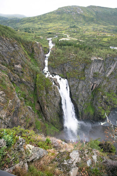 The 600-foot-tall Vøringfossen waterfall in Eidfjord, Norway.