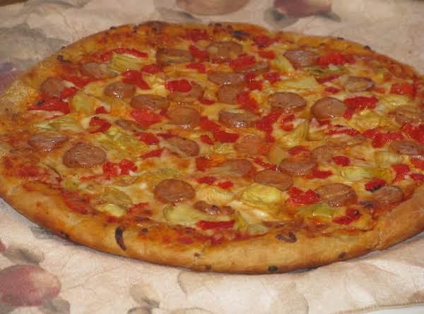 Chicken Sausage, Artichoke And Red Pepper Pizza