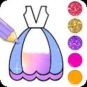 Dresses Coloring Book Glitter icon
