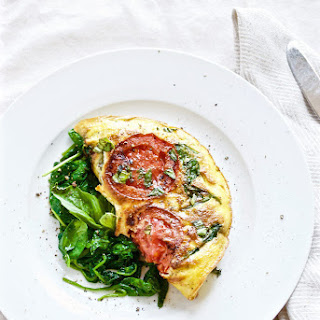 Caprese Omelet with Sauteed Spinach