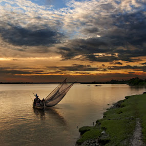 Last time fishing by Amitava Kayal - Landscapes Cloud Formations ( ganga, sunset, cloud, fishing, boat, dusk, river )