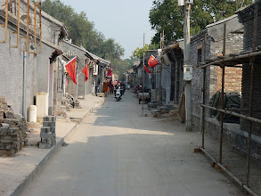 Photo: Beijing - next to Prince Gong's mansion in Shichahai area, quieter small hutong streets where occasionally run big convoy of rickshaws with lazy (mostly chinese) tourists, hutong under construction with new typical grey bricks