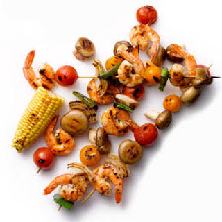 Grilled Shrimp-and-Vegetable Kebabs.