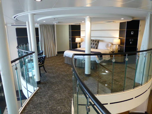 loft-suite-quantum-of-the-seas.jpg - The master bedroom in the Royal Loft Suite on board Royal Caribbean's Quantum of the Seas.