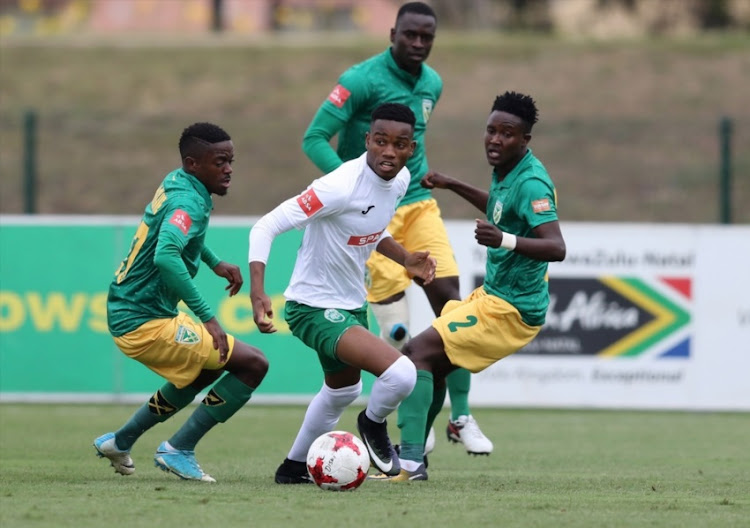 Ovidy Karuru of Amazulu holds oo Zolani Nkombelo during the Absa Premiership match between Golden Arrows and AmaZulu FC at Princess Magogo Stadium on September 17, 2017 in Durban