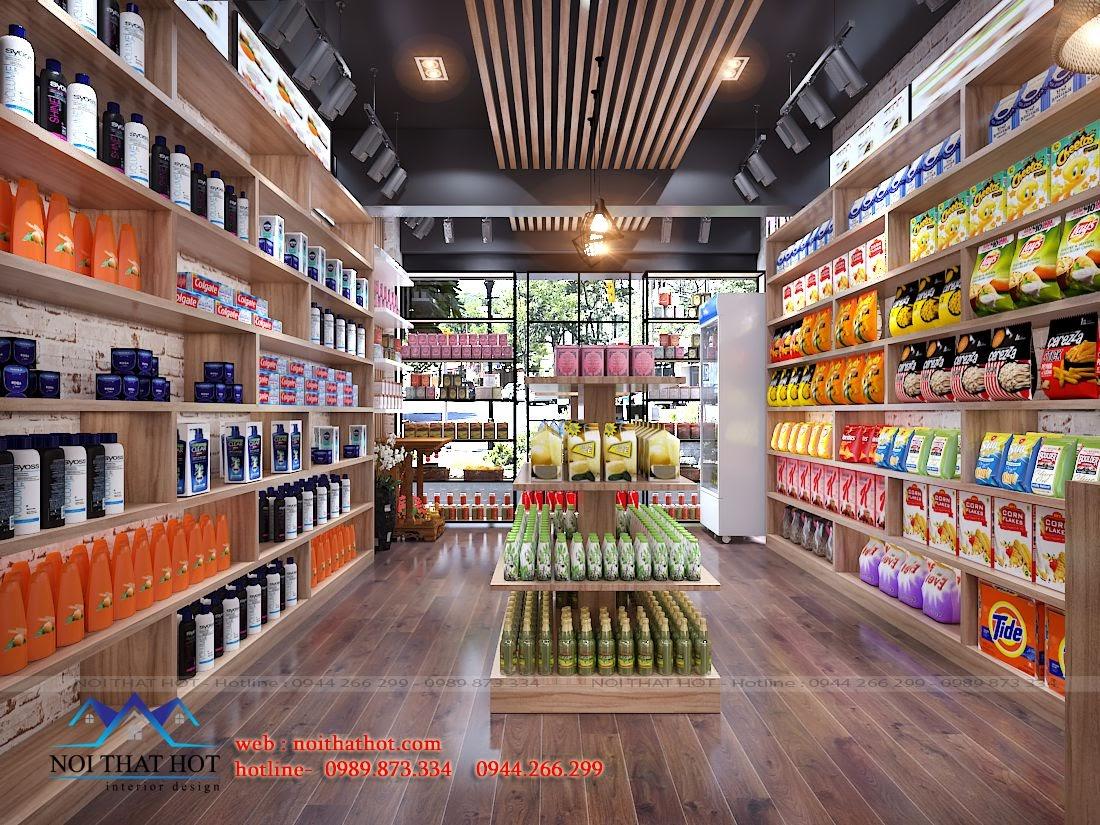 thiết kế cửa hàng tạp hóa, bánh kẹo cao cấp