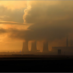 Power station sunrise by Hannes Kruger - Buildings & Architecture Other Exteriors ( industrial, truck, pollution, mine, sunrise,  )