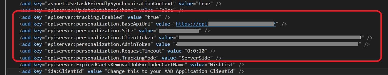 Personalization configuration