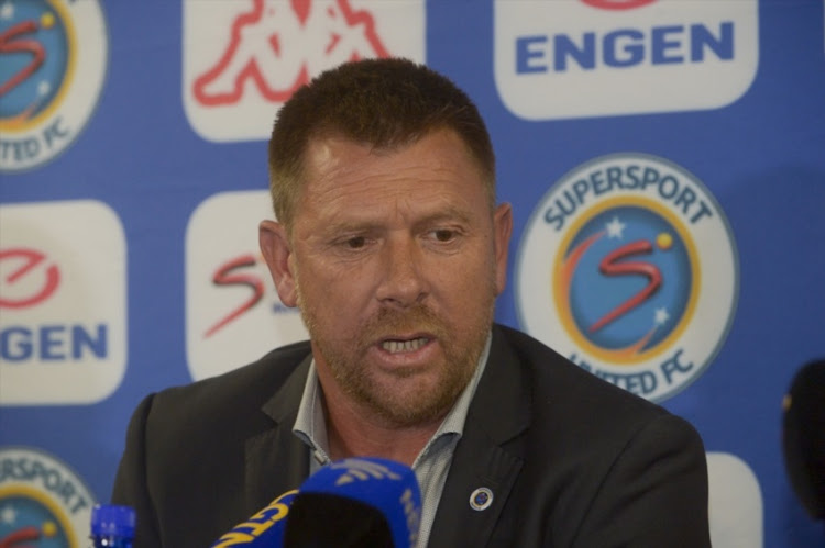 SuperSport United coach Eric Tinkler.