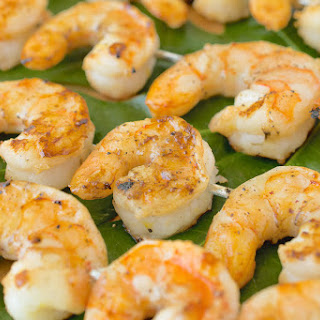 Grilled Shrimp With Ginger Lemon Dipping Sauce.