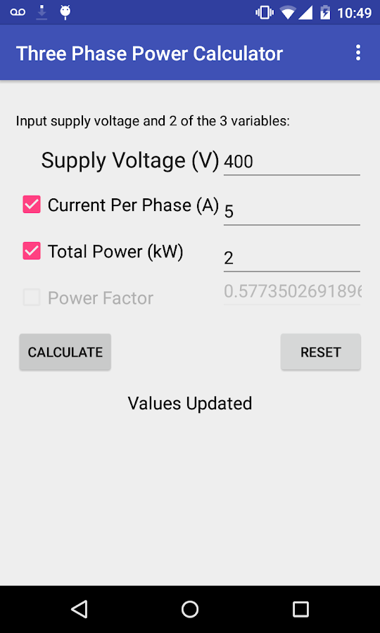 Three Phase Power Calculator- screenshot