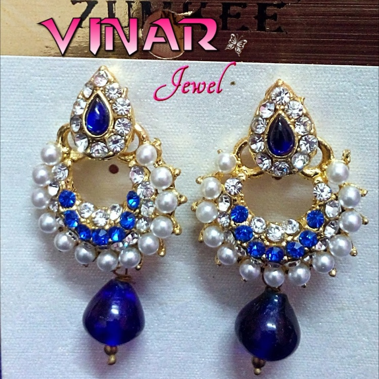 BLUE Stone & WHITE Pearl earrings by Vinar Jewel