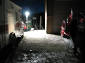 Photo: A portable LENTRY Light System by Ventry Solutions, Inc. is shown lighting our scene before the sun rose.