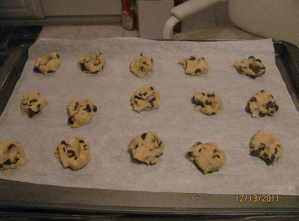 "Place a teaspoon size balls on parchment paper 2"" apart on cookie sheet and..."