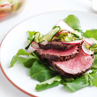 Garlic And Ginger Eye Fillet With Quick Cucumber And Radish Pickle