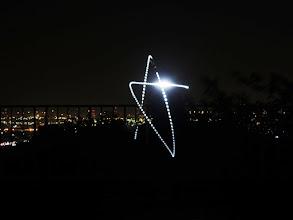 Photo: スローシャッター+ヘッドランプでやってみた。