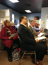 """Photo: Audience members and the panel of judges look on during a presentation at Independent Resources, Inc.'s Launch Space Program """"Dolphin Tank"""" event and award ceremony on March 12, 2015. The LaunchSpace Program was made possible by funding from the DDC."""