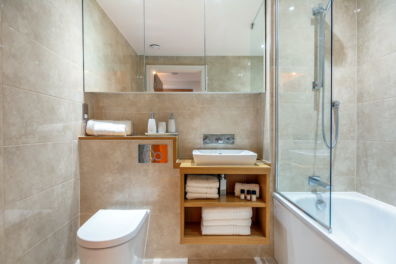 Bathroom at Canary Gateway Apartments, Canary Wharf