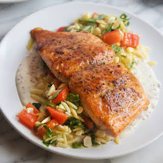 Pan Roasted Salmon with Orzo Succotash.