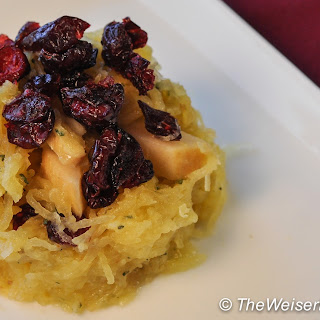 Spaghetti Squash with Spicy Poached Pears and Dried Cranberries.